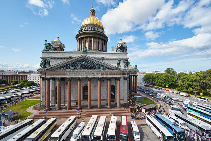 Russia, St. Petersburg, Isaac's Cathedral, 07.14.2015. A view of Isaac's Cathedral from 5 floors of the hotel 4 season, around the cathedral are many tour buses stock image