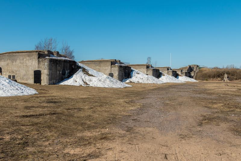 The object of cultural heritage - battery Demidov and 152 mm. guns. Russia St. Petersburg Kronstadt. Early spring. The object of cultural heritage - battery stock photo
