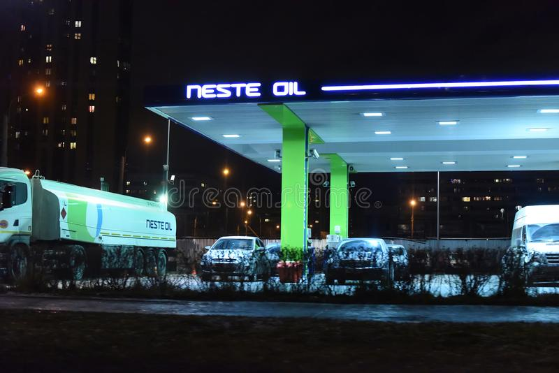 Neste oil loading station. Russia, St. Petersburg, 01,03,2014 Neste oil loading station royalty free stock images