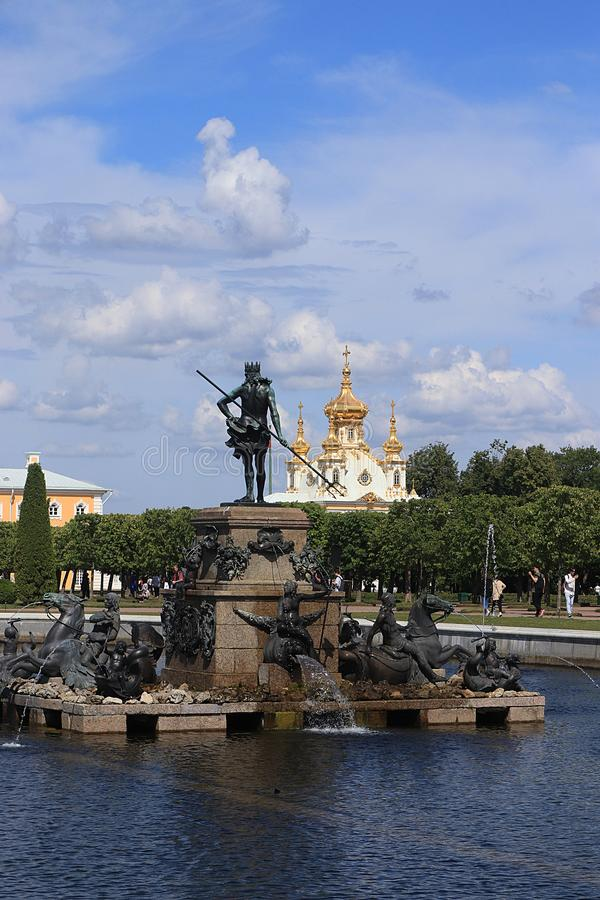 Russia, St. Petersburg, Peterhof, July 8, 2019. The photo shows the fountain Neptune in the Upper Park of the State Museum Reserve stock images