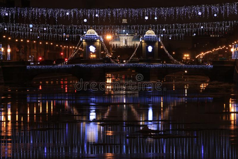 Russia, St. Petersburg, view of the Lomonosov Bridge and Trinity Cathedral royalty free stock photos