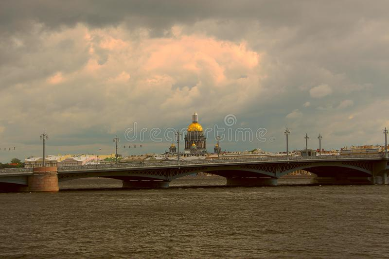Russia, St. Petersburg, view of St. Isaac`s Cathedral before a thunderstorm stock images