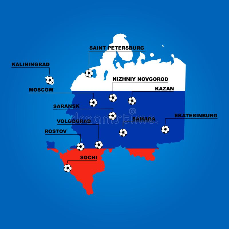 Russia stadiums cities on Map is russian flag royalty free illustration
