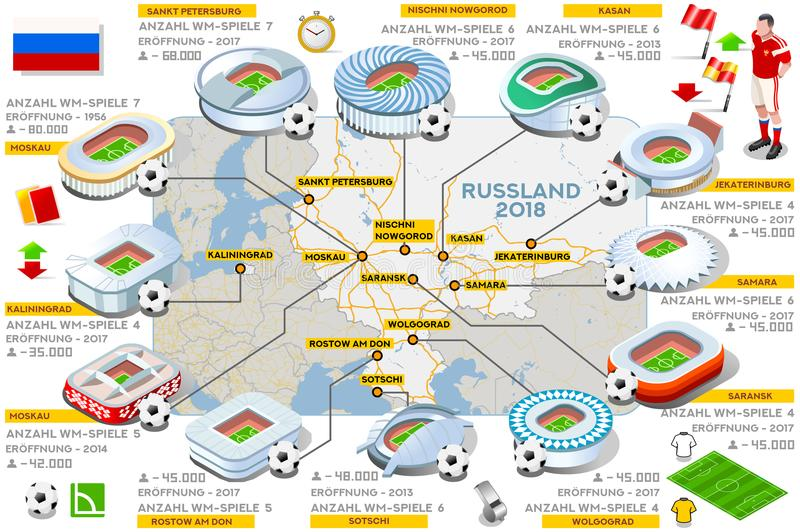 Russia stadiums map German Language. Russia 2018 map football stadium landmark infographic in German language. Soccer icon set arena strategy world cup vector stock illustration