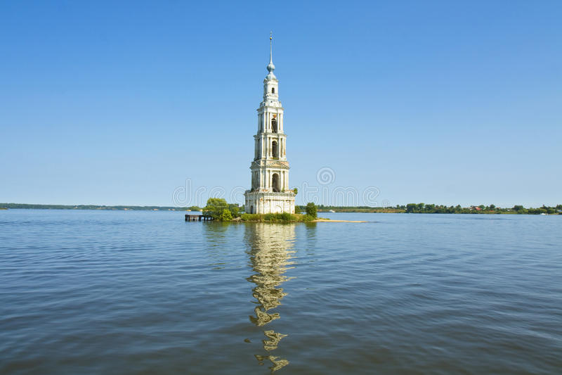 Russia, submerged church. Tower bell of submerged Saint Nicholas cathedral in town Kalyazin on Rybinskoye reservior on river Volga royalty free stock photos