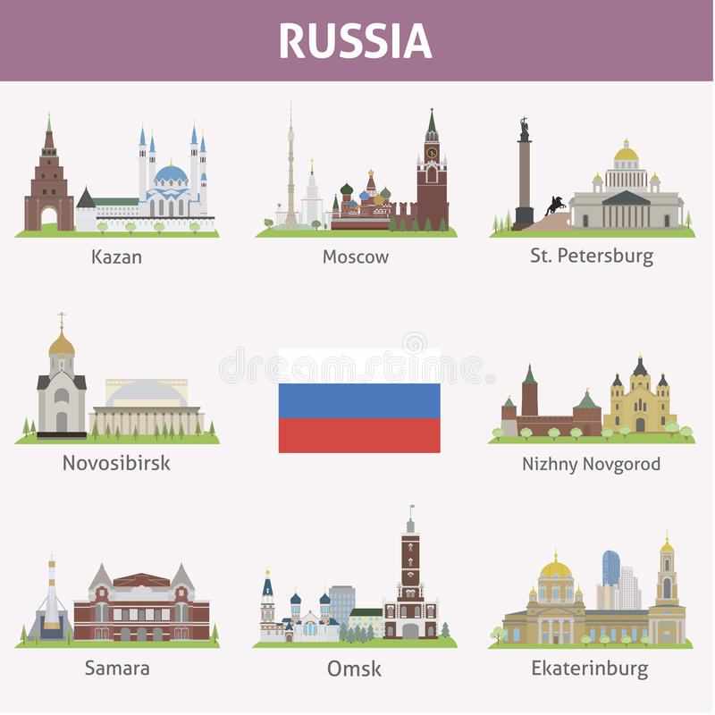 Download Russia. Symbols of cities stock vector. Illustration of city - 37609405