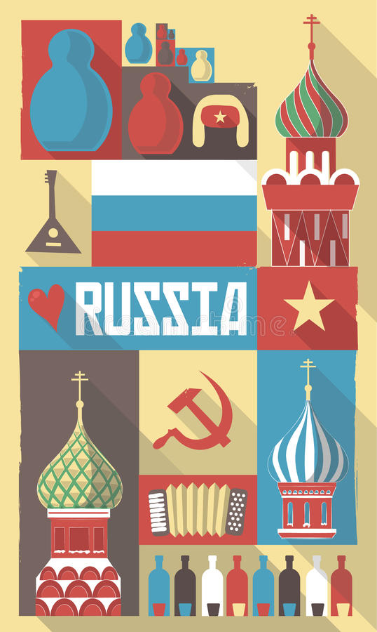 Download Russia Symbols On A Poster Or Postcard Stock Vector - Illustration: 36599971