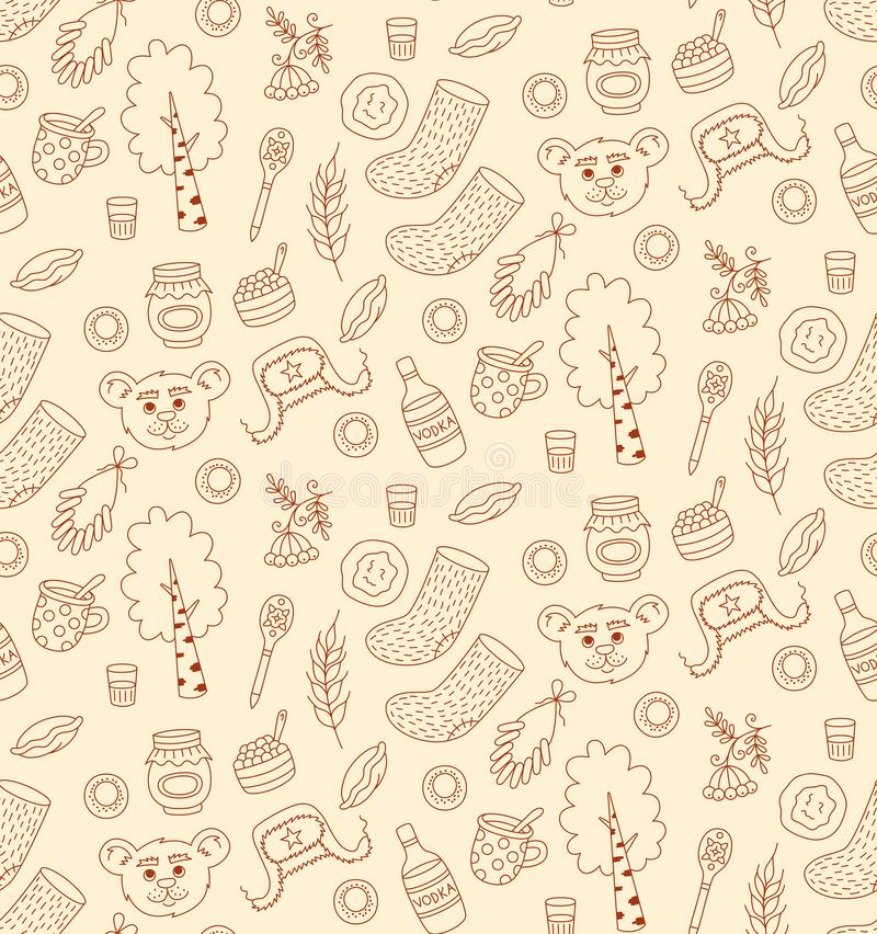 Russia traditional food and symbols seamless vector pattern. Russia traditional food and symbols line doodle seamless vector pattern vector illustration