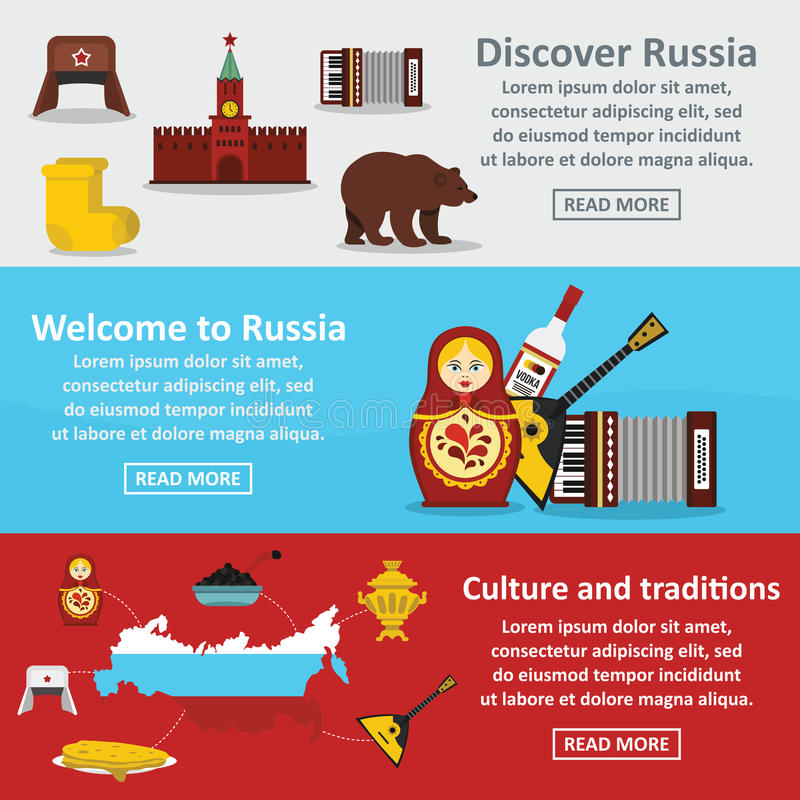 Russia travel banner horizontal set, flat style royalty free illustration