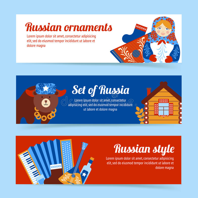 Russia travel banner set vector illustration