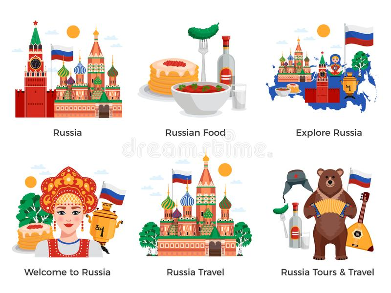 Russia Travel Compositions vector illustration