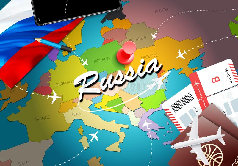 Russia travel concept map background with planes,tickets. Visit Russia travel and tourism destination concept. Russia flag on map vector illustration