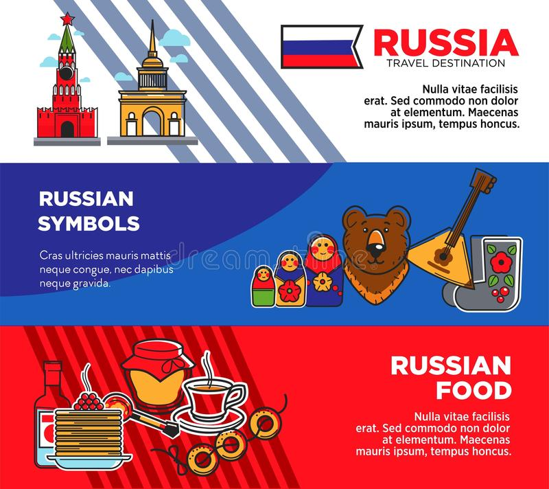 Russia travel destination promotional posters with country symbols and food royalty free illustration