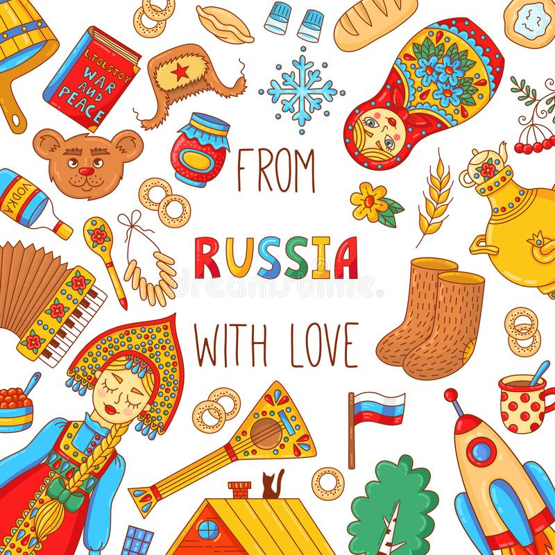 Russia travel doodle icons banner template vector illustration
