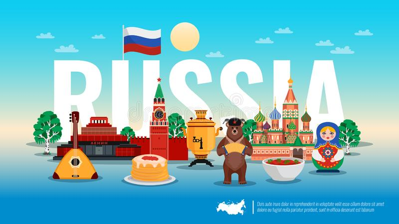Russia Travel Flat Composition stock illustration