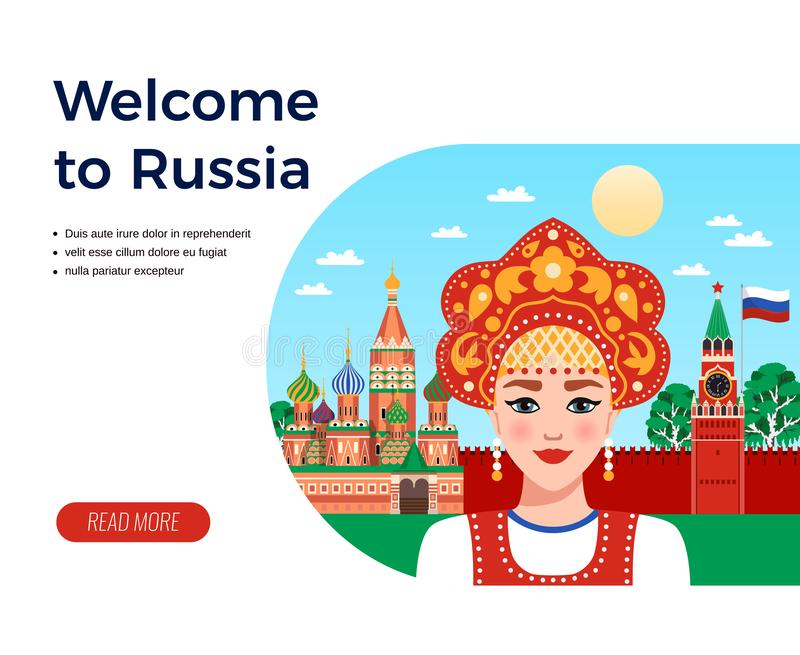 Russia Travel Flat Composition royalty free illustration