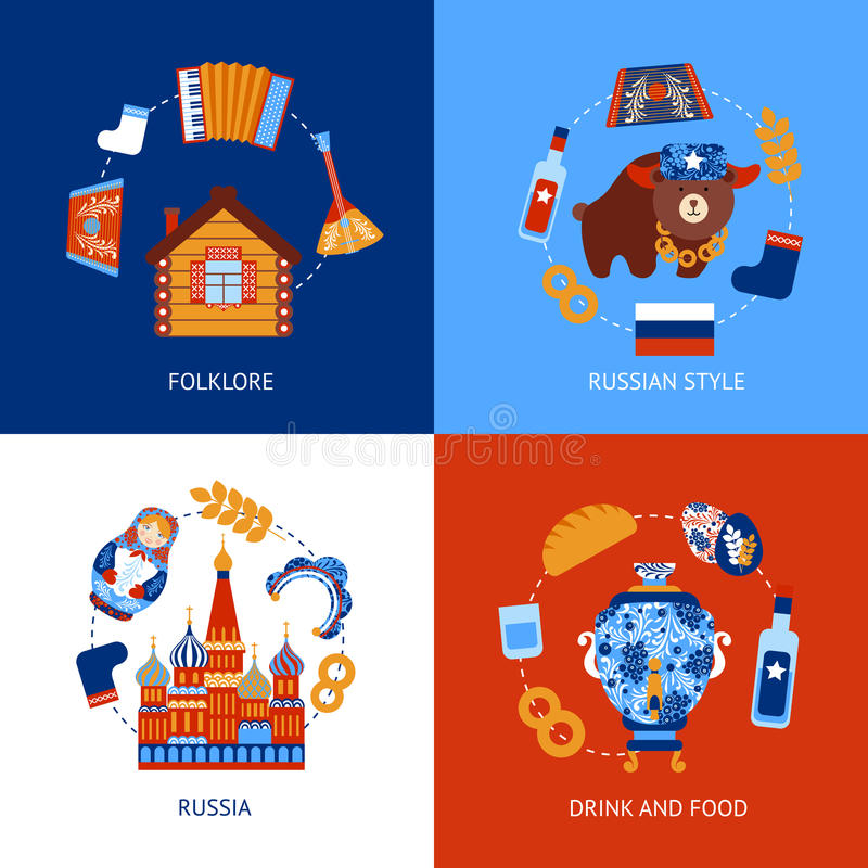 Russia travel flat set vector illustration