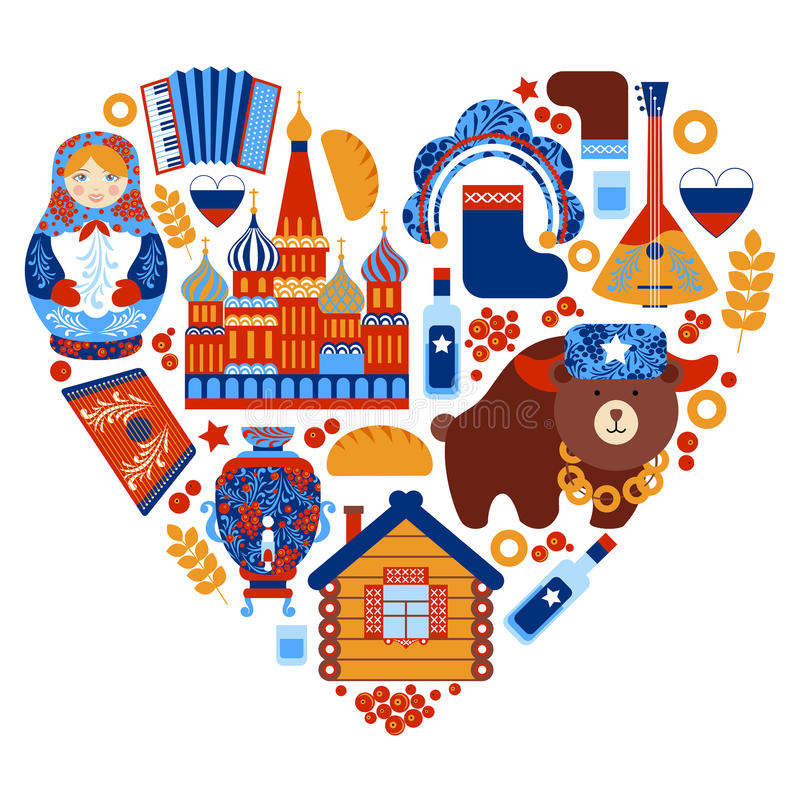 Russia travel heart set stock illustration