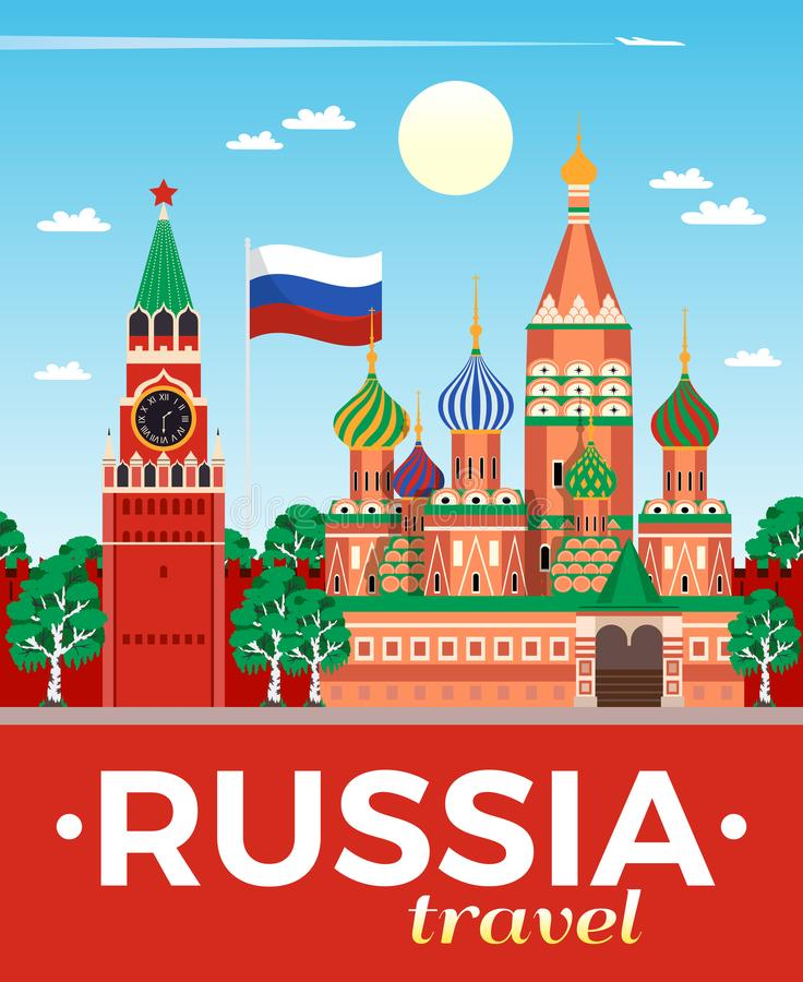 Russia Travel Poster stock illustration