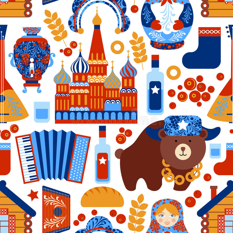 Russia travel seamless pattern stock illustration