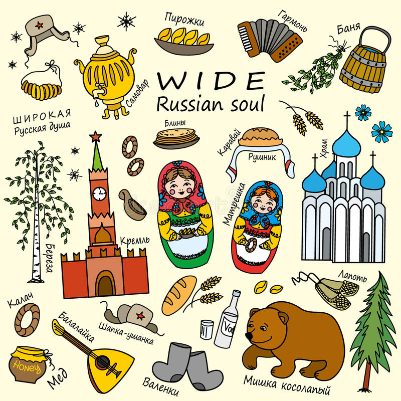 Russia travel set with traditional national elements icons set royalty free illustration