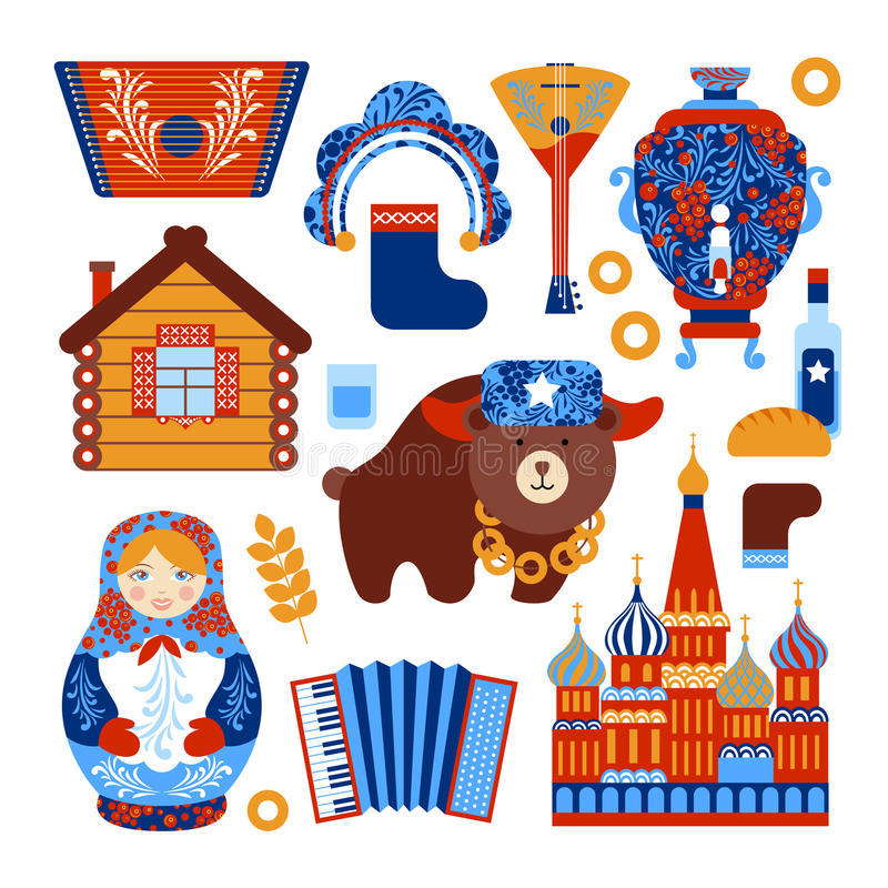Russia travel set royalty free illustration