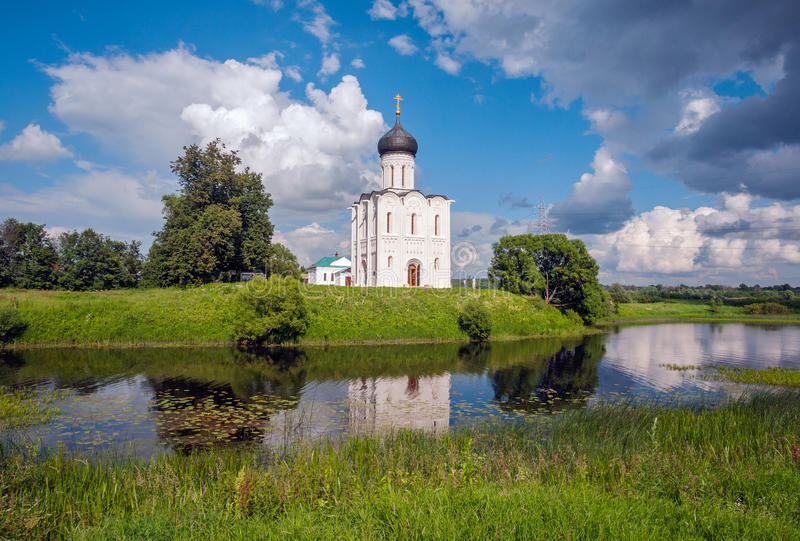 Russia. Travel to Suzdal. The Church of the Intercession on the Nerl. Old Russian architecture. Beauty of Russia stock photography