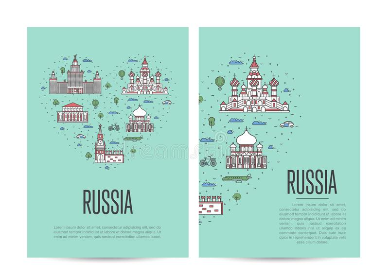 Russia travel tour booklet set in linear style stock illustration