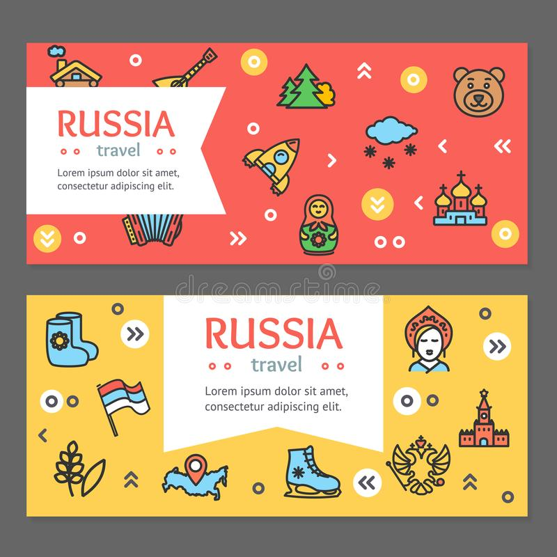 Russia Travel and Tourism Flyer Banner Posters Card Set. Vector royalty free illustration