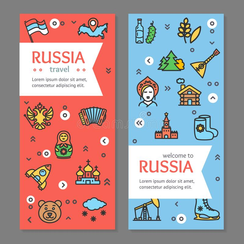 Russia Travel and Tourism Flyer Banner Posters Card Set. Vector stock illustration