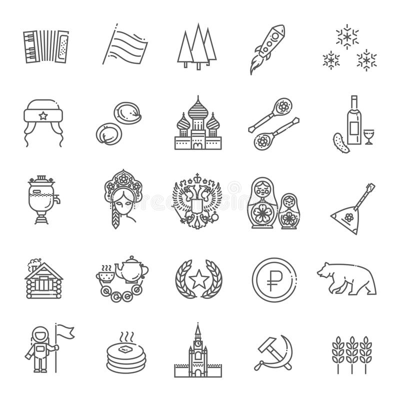 Russia Travel and Tourism vetor Thin Line Icon Set vector illustration
