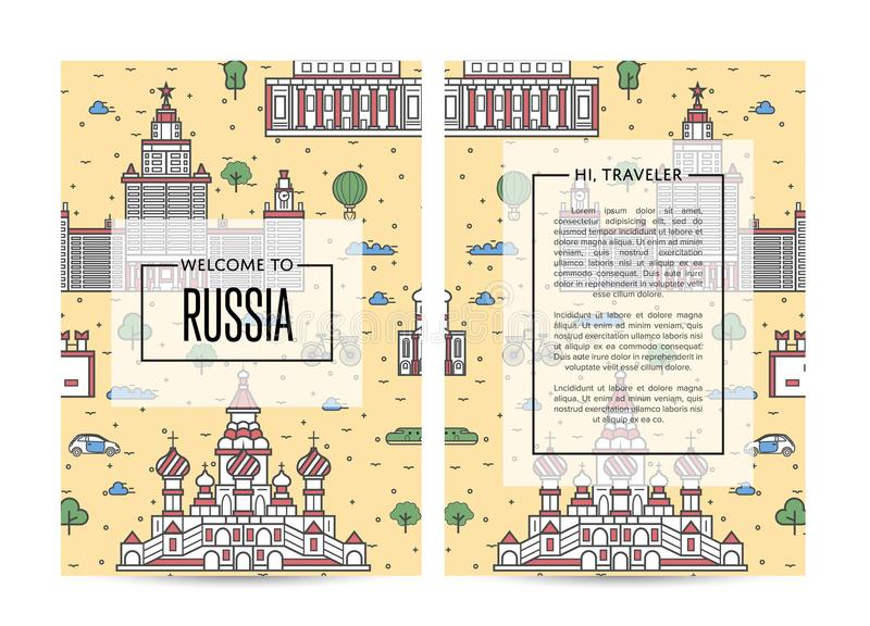 Russia traveling banners set in linear style vector illustration