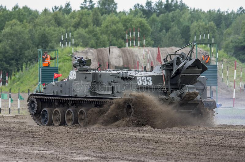 Russia. Tyumen, August 10, 2019: International Army Games. The final `Engineering formula` Tracked minelayer GMZ-3 stock images
