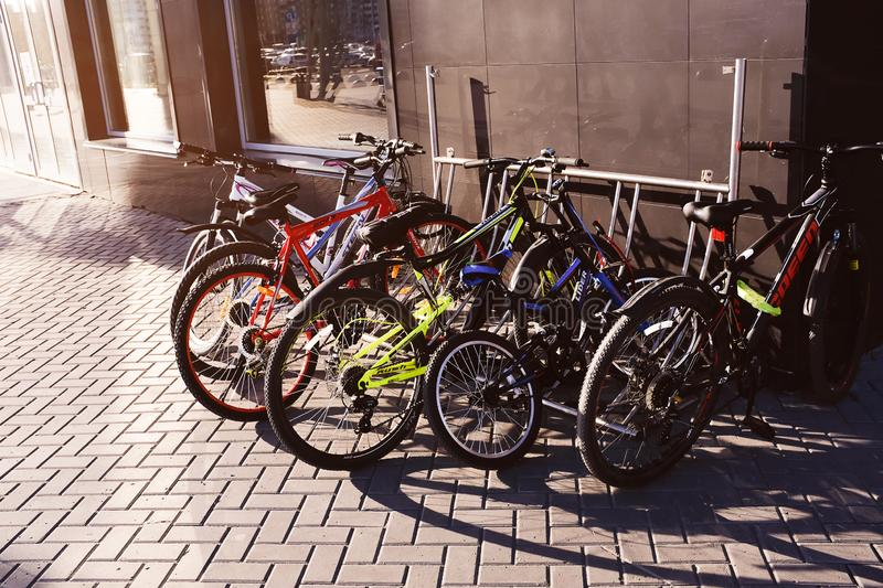 Russia, Tyumen, 30.05.2019. Bicycle Parking on the street. Urban sports transport royalty free stock photography