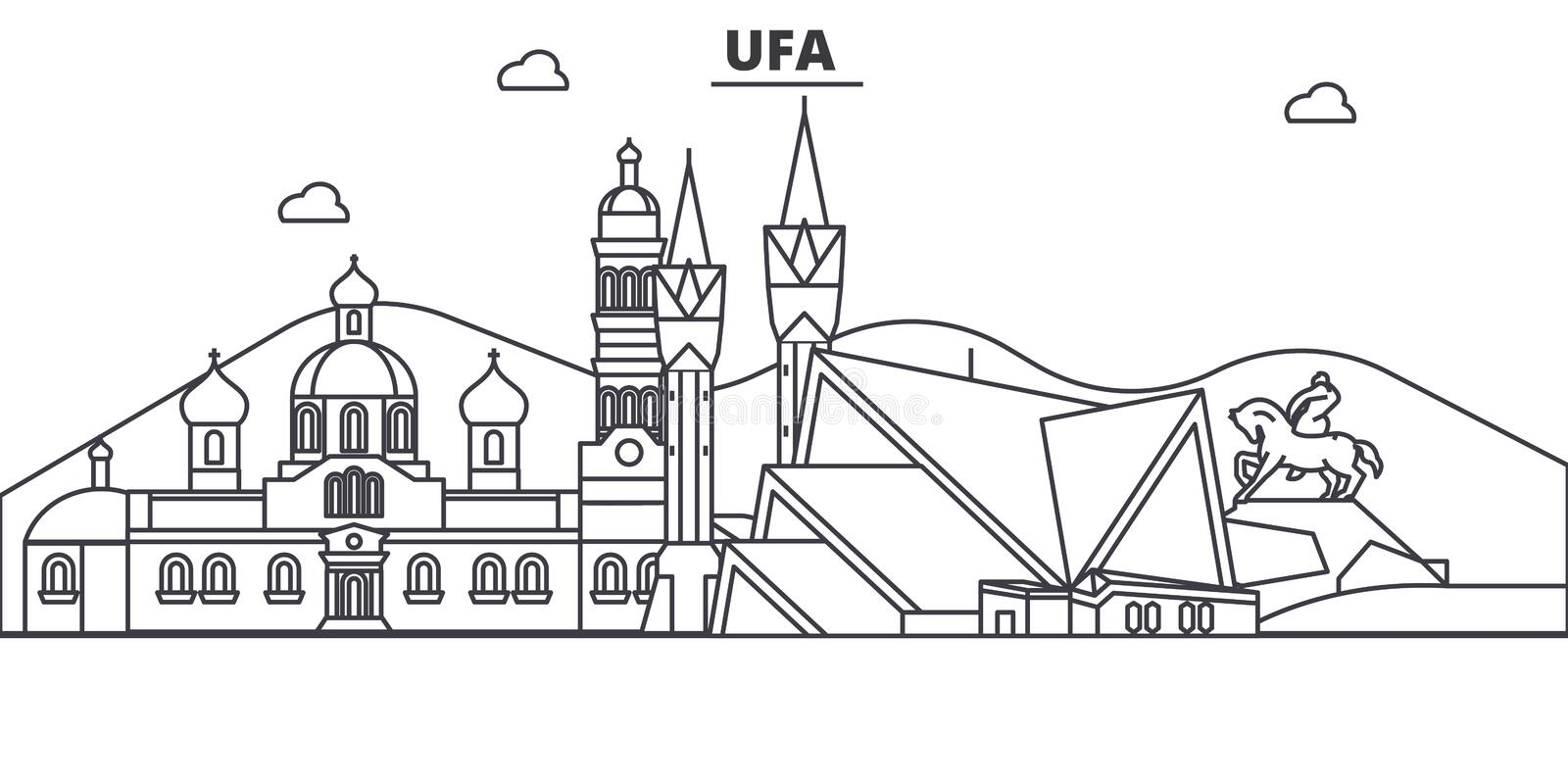 Russia, Ufa architecture line skyline illustration. Linear vector cityscape with famous landmarks, city sights, design. Icons. Editable strokes vector illustration
