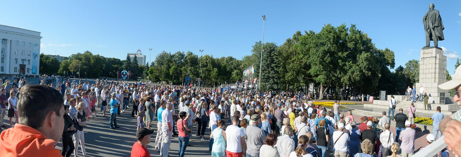 Russia, Ulyanovsk, July 9, 2018 Rally against raising the retirement age and taxes royalty free stock photography