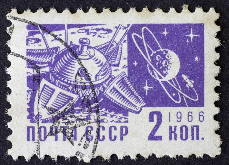 RUSSIA/USSR - CIRCA 1966: space themed post stamp of 2 kopek, Moscow 1966 stock photography