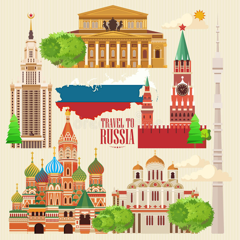 Russia vector banner. Russian poster. Travel to Russia vector illustration
