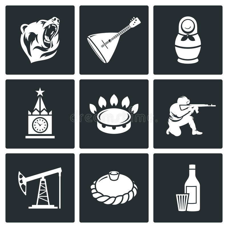 This is Russia Vector Icons Set. Russian characters Icon flat collection isolated on a black background royalty free illustration