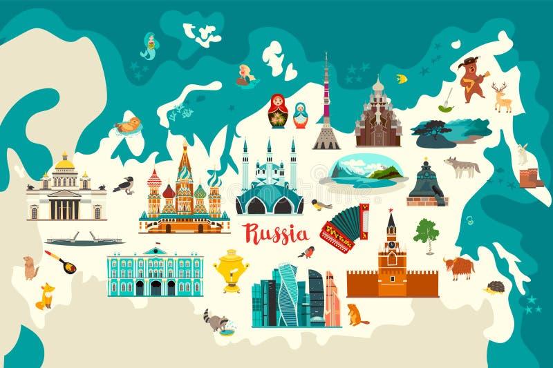 Russia vector map illustration.Hand draw atlas with russian landmarks, vector illustration