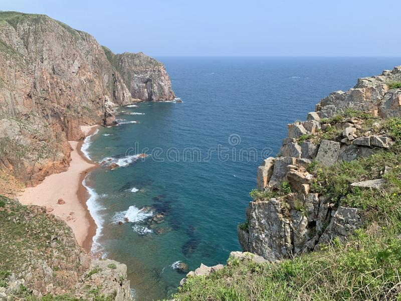 Russia, Vladivostok.Beautiful island of Shkot in sunny summer day.  royalty free stock images