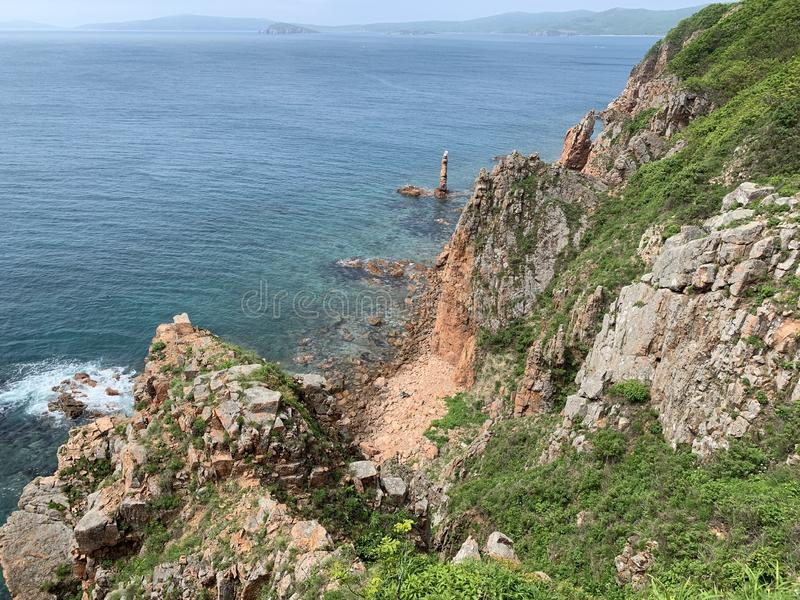 Russia, Vladivostok. Beautiful island of Shkot in sunny weather.  stock photography
