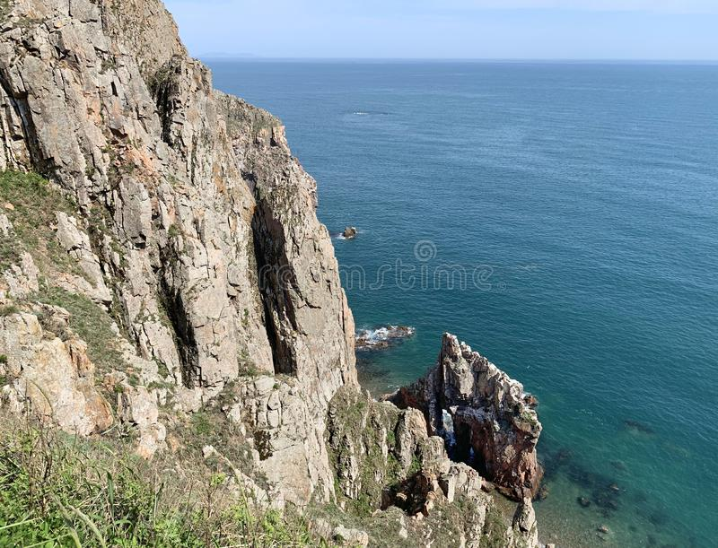Russia, Vladivostok. Island of Shkot and Japanese sea in may.  stock image