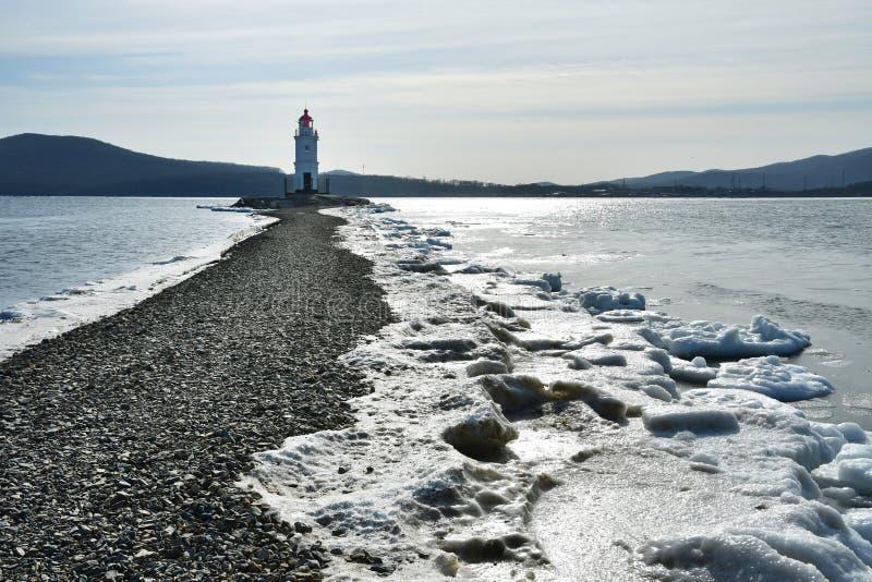 Russia. Vladivostok. The lighthouse of Egersheld1876 year built Tokarevskaya koshka in January in Amur bay. Photo in the backgr. Ound light stock image