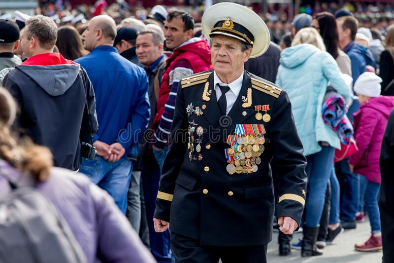 Russia, Vladivostok, 05/09/2018. Old officer in parade military uniform, veteran and hero of Great Patriotic War between USSR and stock images