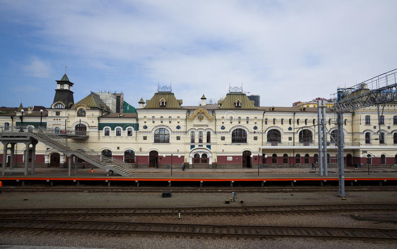 Russia vladivostok railway station stock photo