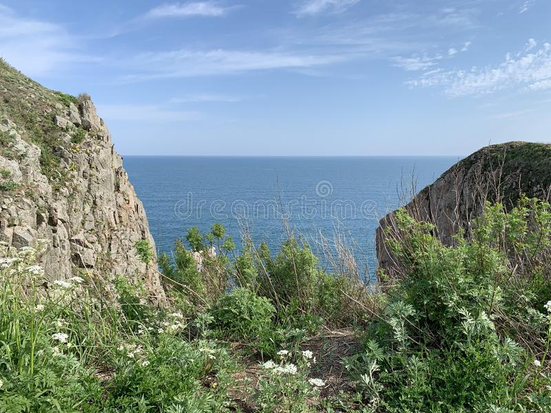 Russia, Vladivostok. The rocky shore of the island of Shkot in the archipelago of the Empress Eugenie in sunny summer day.  royalty free stock photos