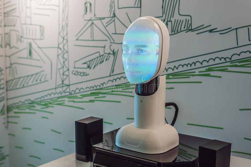 Russia, Vladivostok, September 12, 2018: Artificial intelligence, a robot that can talk stock photos