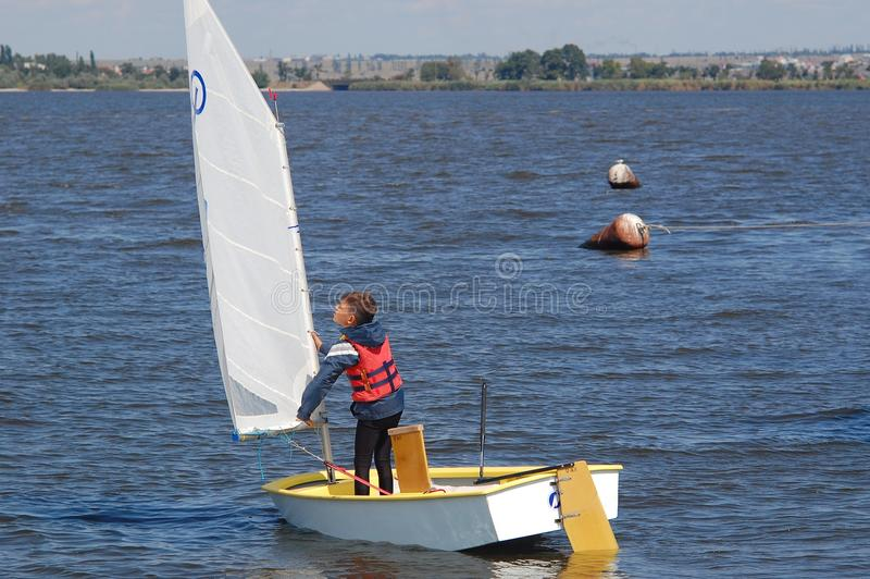 Swimming on sails. Russia, Volgodonsk - may 19, 2015: The competitions in sailing Swimming on sails royalty free stock images