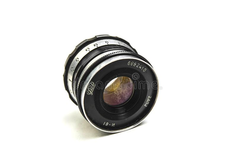 Russia Voronezh 29 may 2019. old hand lens isolated on white background royalty free stock images